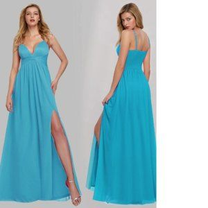V-Neck Spaghetti Straps Evening Maxi